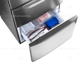 Refrigerators drawer with fish.