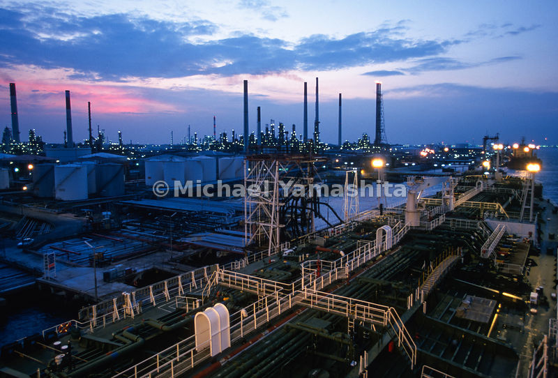 Shell Oil Refinery. .Shell's biggest world wide and largest in South East Asia. Oil comes from the Persian Gulf, is refined and then sold locally. .Pulau Ular & Pulau Bukom Besar.Singapore