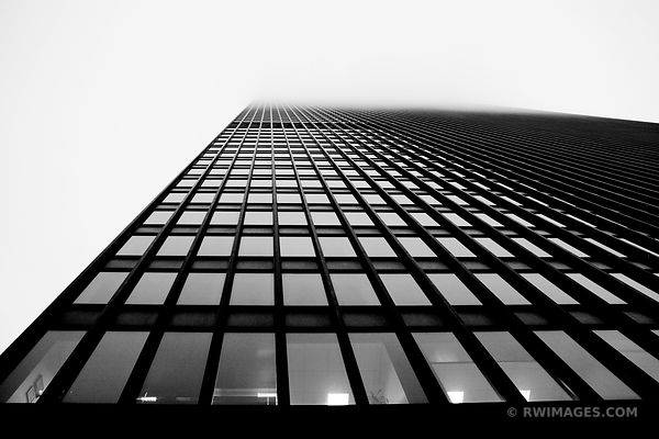 IBM BUILDING IN FOG CHICAGO MODERN ARCHITECTURE BLACK AND WHITE