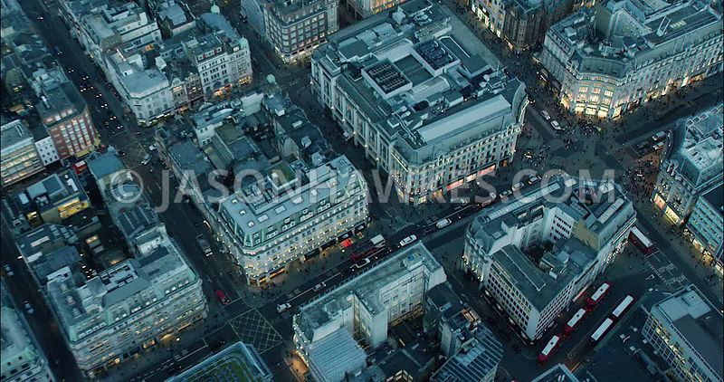 London Aerial Footage of Oxford Circus.