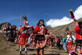 Kapac Chunchu dance group at Qoyllur Riti festival, Peru