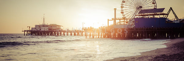 Santa Monica Pier Retro Sunset Panorama Photo