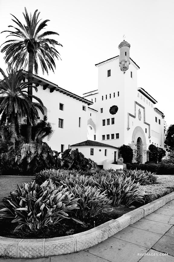 SANTA BARBARA ARCHITECTURE CALIFORNIA BLACK AND WHITE VERTICAL