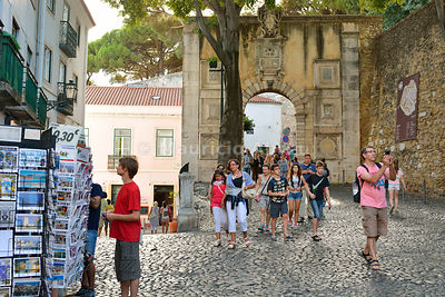 São Jorge Castle district with tourists. Lisbon, Portugal