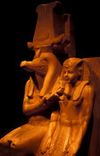 statue of Amenthoteb III and god Sobek in calcite, from the New Kingdom, Dyn.XVIII, Luxor Museum, Luxor, Egypt