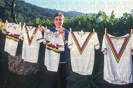 NICOLAS VOUILLOZ WITH FIVE RAINBOW JERSEYS AT HOME IN FRANCE 1997