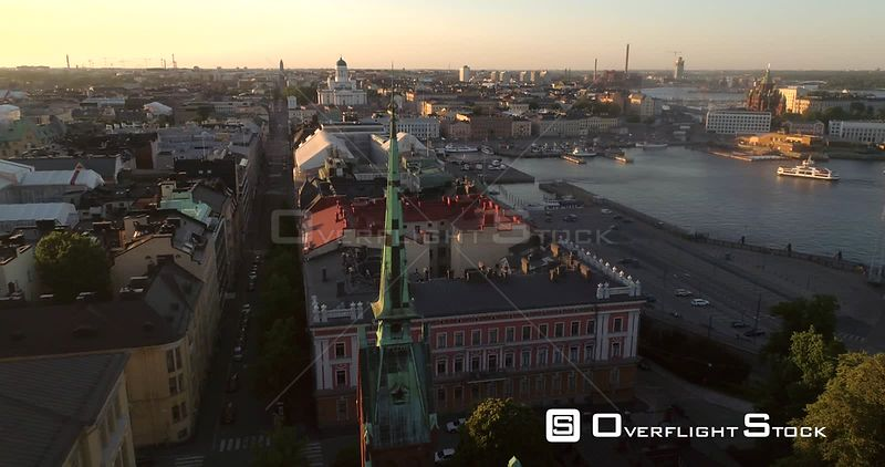 Helsinki Cityscape, Aerial View Around the German Cathedral, Saksalainen Kirkko, Revealing the City of Helsinki, on a Sunny Summer Evening Dusk, in Helsingfors, Uusimaa, Finland