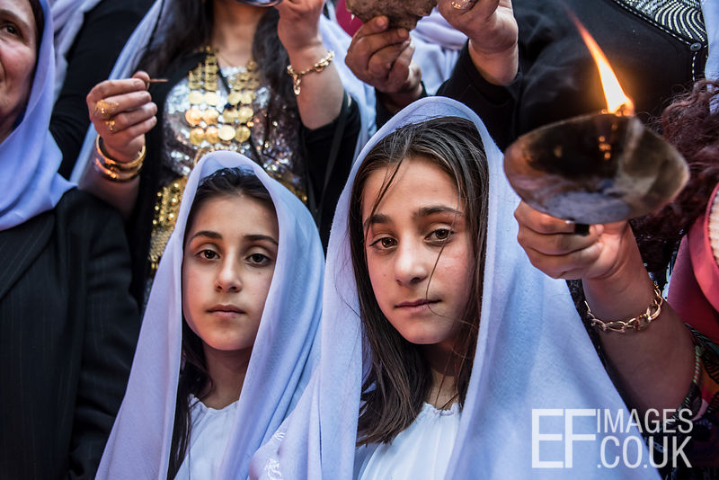 Celebrating Yazidi New Year, or Sere Sal in Lalish, with oil lamps. Iraqi Kurdistan, 18th April 2017