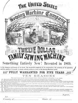 Advertisement for 19th-century sewing machine