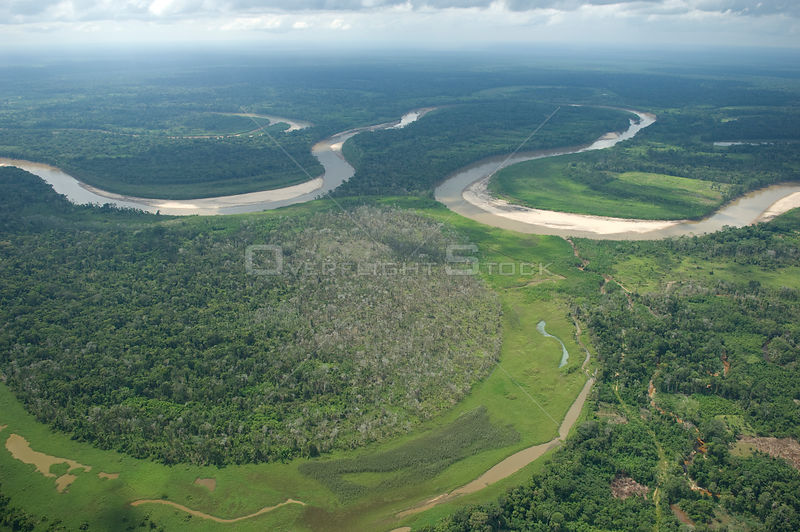 Aerial view of floodplain of the Ichilo River (which forms the Mamoré River) at the border of Cochabamba and Santa Cruz departments, Bolivia.