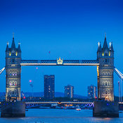 View of the Tower Bridge and the Thames River with lights in the evening, London, England, United Kingdom