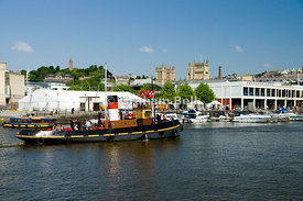 tourist boat on floating harbour, bristol, england.
