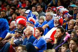 Fans during the EHF EURO Croatia 2018 - Preliminary round -  Group B - France vs Belarus in Zatika Sports Centre, Porec, Croatia, 16.1.2018, Mandatory Credit © HRS / Anze Malovrh