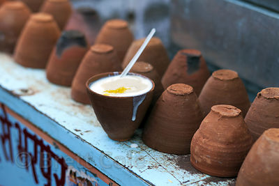Sweet milk desert for sale at a market in Pushkar, Rajasthan, India.