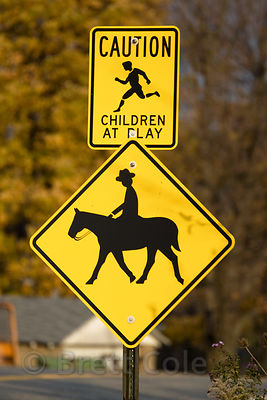 Cowboy crossing sign, rural Ohio