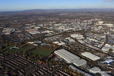 aerial photograph of Trafford Park Industrial Estate in Manchester UK