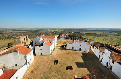 The walled village of Ouguela. Alentejo, Portugal