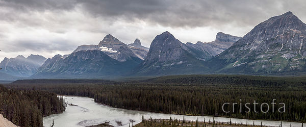 Rocky Mountains beside the Icefields Parkway in Alberta