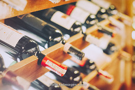 wine in cold storage shelf