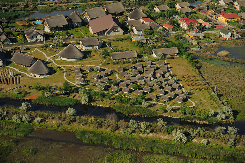 Aerial view over Green Village lodge, Sfinthu Gheorghe, within the Danube delta rewilding area, Romania June 2012