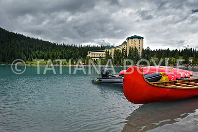 Red canoe on Lake Louise