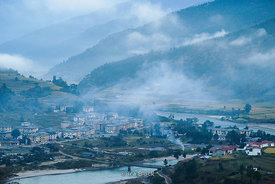 Morning view of the town, Khuruthang and Puna Tsang Chhu river in Punakha, Bhutan.