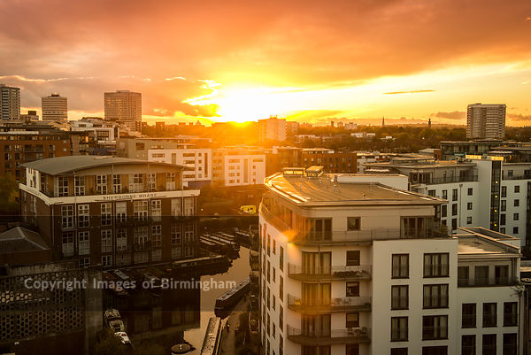 View of Birmingham City Centre during sunset. Looking towards Sherborne Wharf canals.
