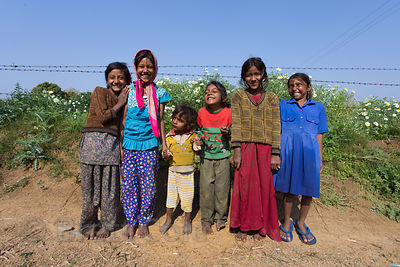 Girls on a flower farm, Doomara village, Rajasthan, India. This is one of my all-time favorite photos, as it perfectly captures how happy these hardy, hard-working, simple people are.