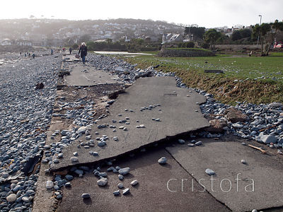 Penzance sea front storm damage