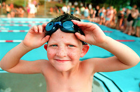 Photographic portrait of a young swimmer