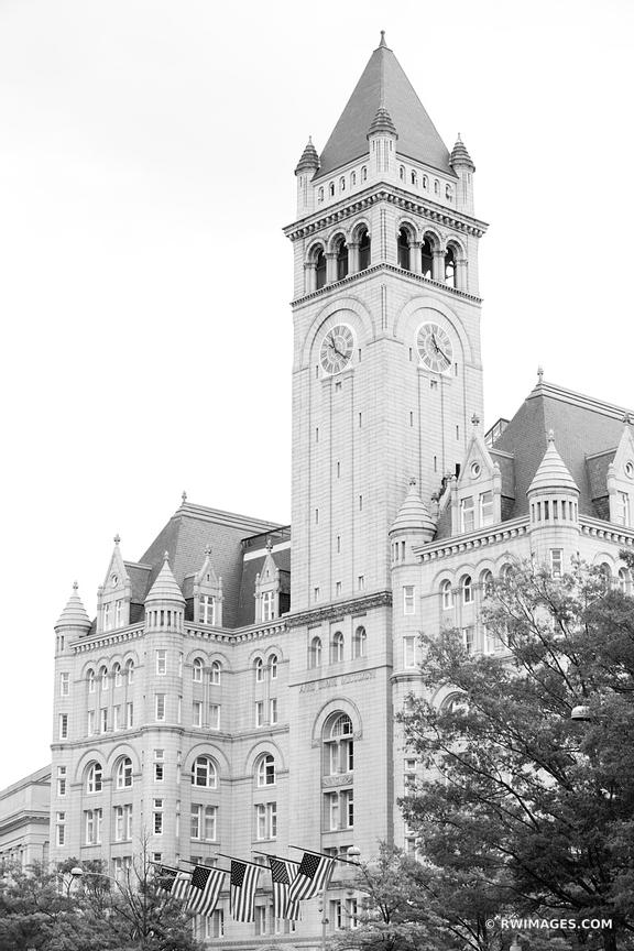 OLD POST OFFICE PAVILION WASHINGTON DC BLACK AND WHITE VERTICAL
