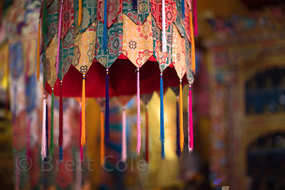 Tassels on a tapestry in Matho Gompa, Matho, Ladakh, India