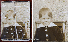 The original photograph measured approximately 30 x 40 mm and looked as if it had been in someone's wallet for many years, and was badly creased and marked.