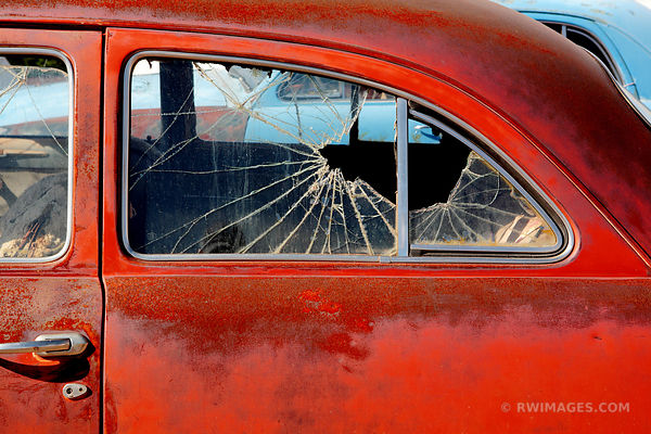 OLD RED CAR BROKEN WINDOW ROUTE 66 ARIZONA COLOR