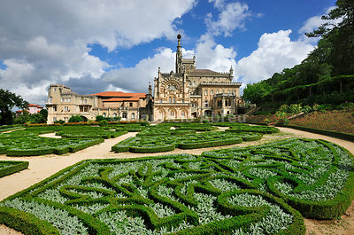 Bussaco Palace Hotel and gardens, a royal fairy tale hotel, built in 1885. Located in the middle of the Bussaco National Forest, it is one of the most beautiful and historic hotels in the world. Portugal (no property release)