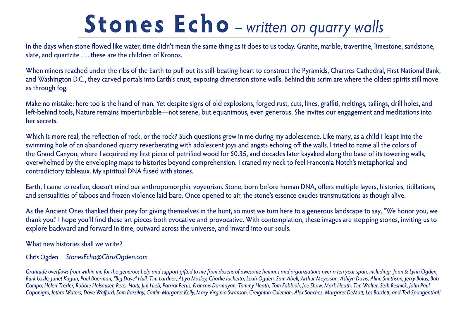 Stones Echo, written on quarry walls – Artist Statement by Chris Ogden