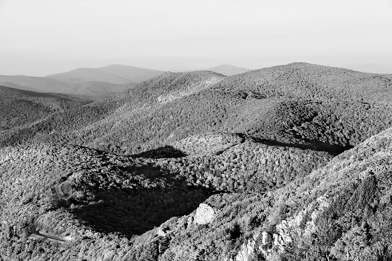 SKYLINE DRIVE FROM STONY MAN MOUNTAIN SHENANDOAH NATIONAL PARK VIRGINIA BLACK AND WHITE