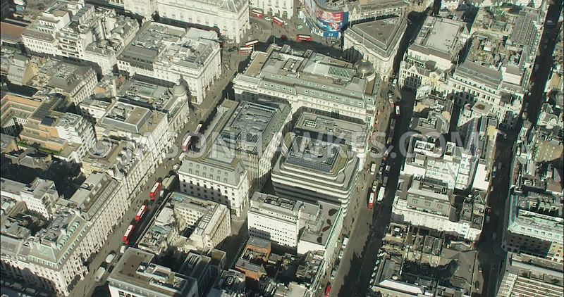 London Aerial Footage of Regent Street and Haymarket.