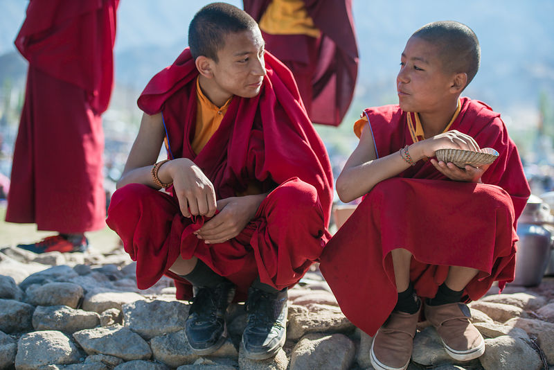 These buddhist monks share a meal together