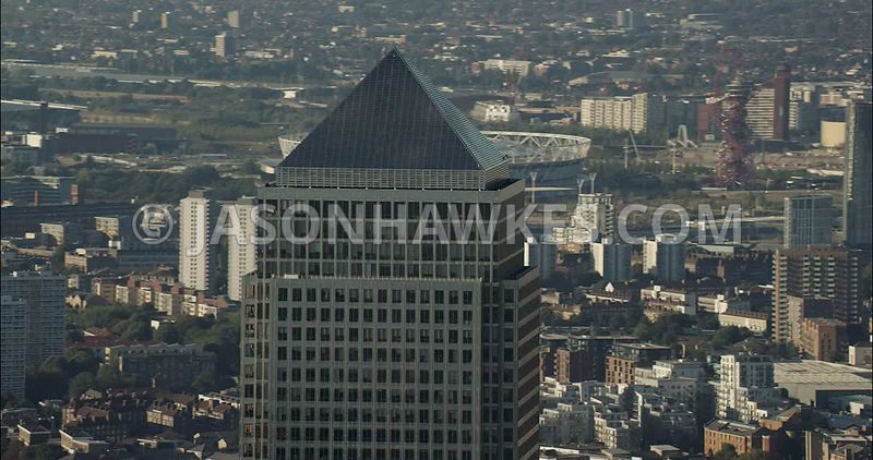 London Aerial Footage close up of 1 Canada Square.