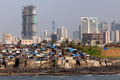 View of Worli from the Sealink bridge, Mumbai, India.