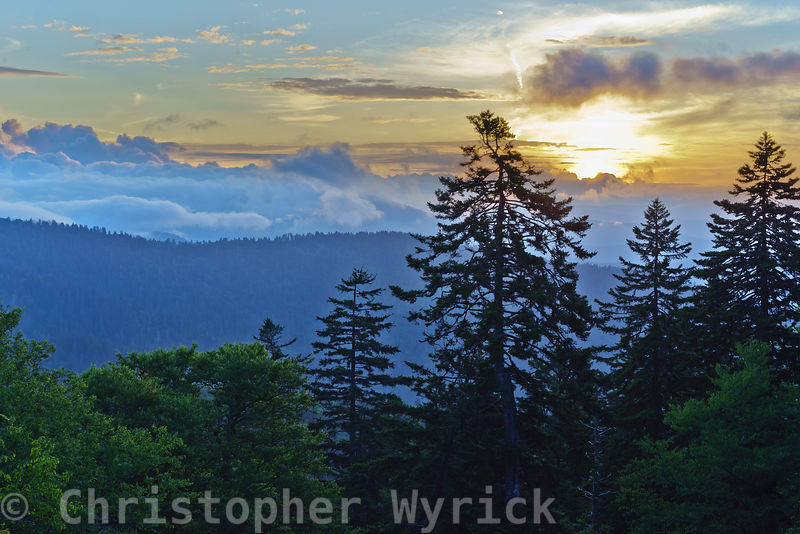 Spectacular early morning shots at dawn looking into the mountains of North Carolina from the Clingman's Dome area.  We had seen heavy thunderstorms during the night and the morning mist still hung heavy in the air.  The feeling was one of awe and deep appreciation for God's creation as I looked across the mountains into the rising sun.