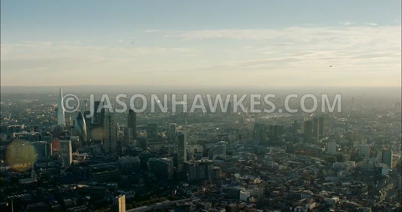 London Aerial Footage of City of London skyline with The Shard