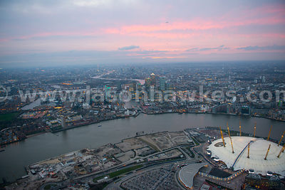 Aerial view of Canary Wharf at dusk looking West, London