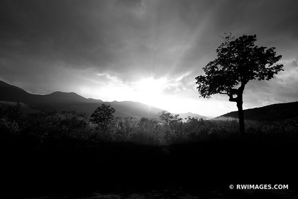 SUNSET KANCAMAGUS PASS WHITE MOUNTAINS NEW HAMPSHIRE BLACK AND WHITE