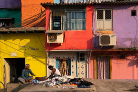 A daily-life scene at Dhobi Ghat, a laundry district in Mumbai, India