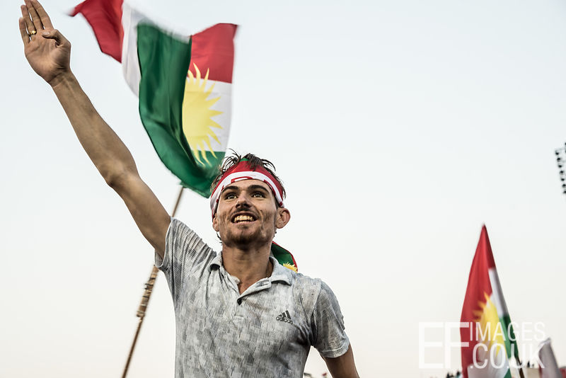 Support for an independent Kurdistan at the final rally of the referendum campaign, at Franso Hariri Stadium in Erbil. 22nd September 2017. Elizabeth Fitt