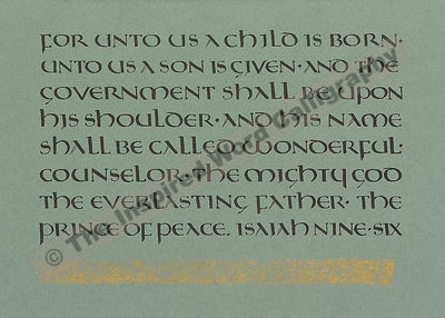 For unto us a child is born… - Isaiah 9:6 - in hand lettered calligraphy and hand drawn art - IWC Item:   1103L