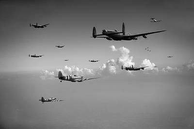Spitfires escorting Lancasters black and white version