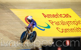 Joseph Berenyi (USA) is riding for the victory at Men's 1km Time Trial C1-5, Track Day 1, Toronto 2015 Parapan Am Games, Milton Pan Am/Parapan Am Velodrome, Milton, On; August 10, 2015